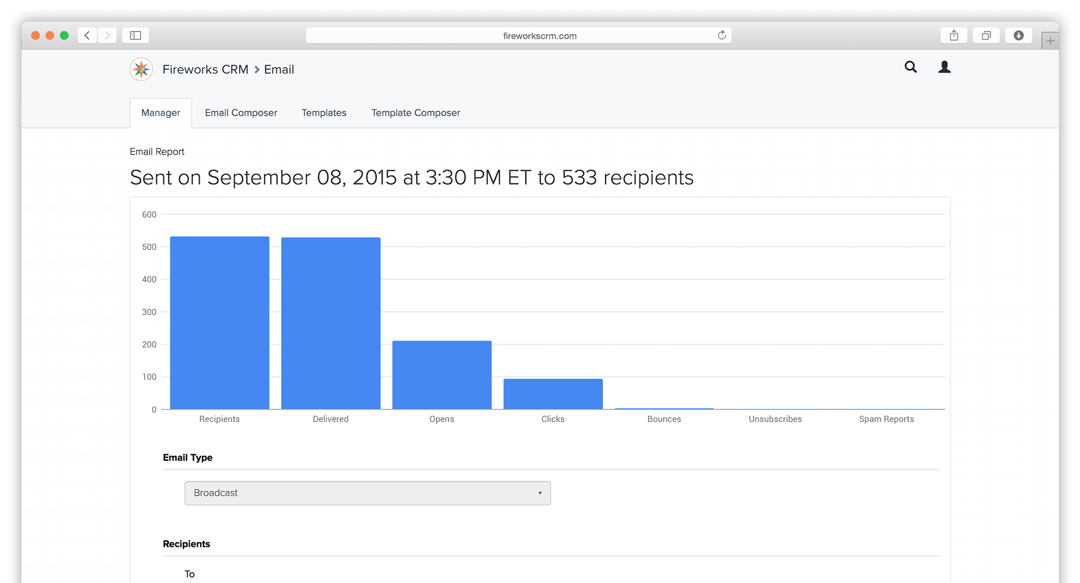 With Fireworks, it's easy to track and measure email campaign results in real time. View your delivery rate, opens, click-thrus, and more.